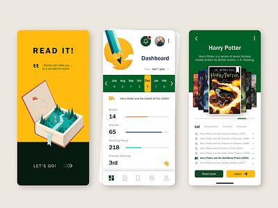 Reading books App | Dashboard UI UX Designer content reviews catalog list read listen harrypotter ui ux app mobile app mobile ui  ux designer design books book dashboad reading app reading