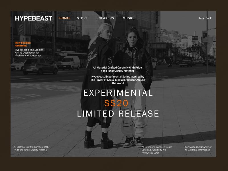 Hypebeast New Release web ux ui landing page design