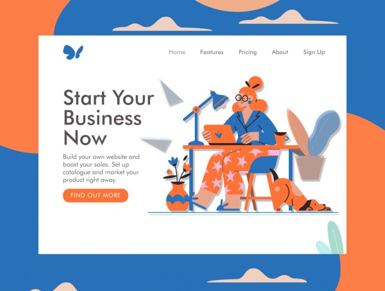 Website Maker Landing Page illustration web ux ui landing page design