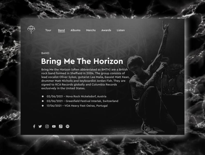 Bring Me The Horizon Tour Date music band bmth web ux ui landing page design