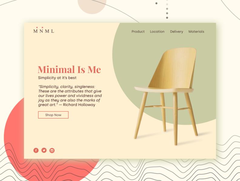 MNML Landing Page furniture illustration minimalism web ux ui landing page design
