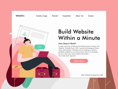 Website Builder Landing Page illustration web ux ui landing page design
