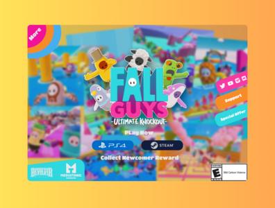 Fall Guys Landing Page ps4 steam fallguys colorful game illustration web landing page design ux ui