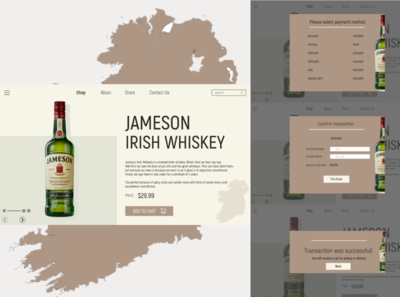 Jameson Whisky Order page ecocash ecommerce online store whisky jameson brand design store design