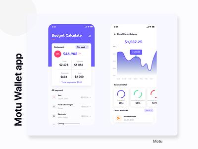 Motu Wallet app minimalist payment activitys ux desgin ui design home calculate buget flash fintech finance designer design app bill design clean card balance