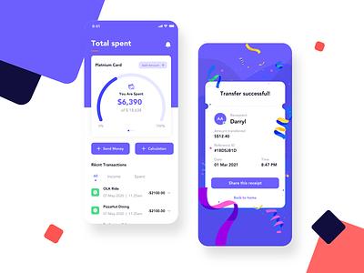 Motu Wallet app total success minimal mobile finance app fintech app ux design ui designer ui kit flash fintech finance designer design app design clean card bill balance