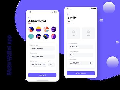 Motu Wallet app creative add identify cards ux design ui design ui kit finance app ui home designer design app design clean bill card balance