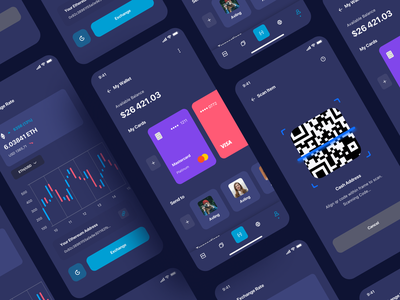 Ilumia Crypto Mobile App scan qrcode register log in onboarding bitcoin coin crypto wallet ui wallets bank app wallet finance app home balance finance fintech clean card bill