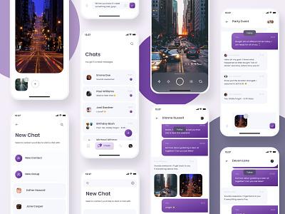 Flatey Social kit app socialmedia messager chat app mible ui design uiux media kit social media app social design balance clean