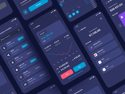 Ilumia Crypto Mobile App cards bank card chart statistics dark mode crypto exchange crypto currency crypto wallet crypto banking bank app ui design wallet finance app finance fintech card bill balance clean