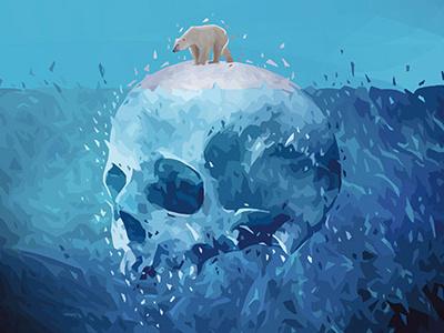Save the Arctic ice manifesto editorial kaneda arctic skull polar bear greenpeace campaign social poster alessandro pautasso polar bear save the arctic