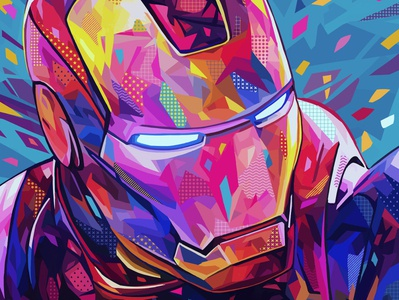 Iron Man photoshop tony stark iron man marvel comics marvel pop art abstract colors portrait illustration kaneda99 kaneda alessandro pautasso