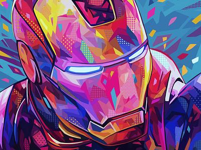 Iron Man photoshop tony stark iron man marvel comics marvel pop art abstract colors portrait illustration kaneda99 kaneda alessandro pautasso