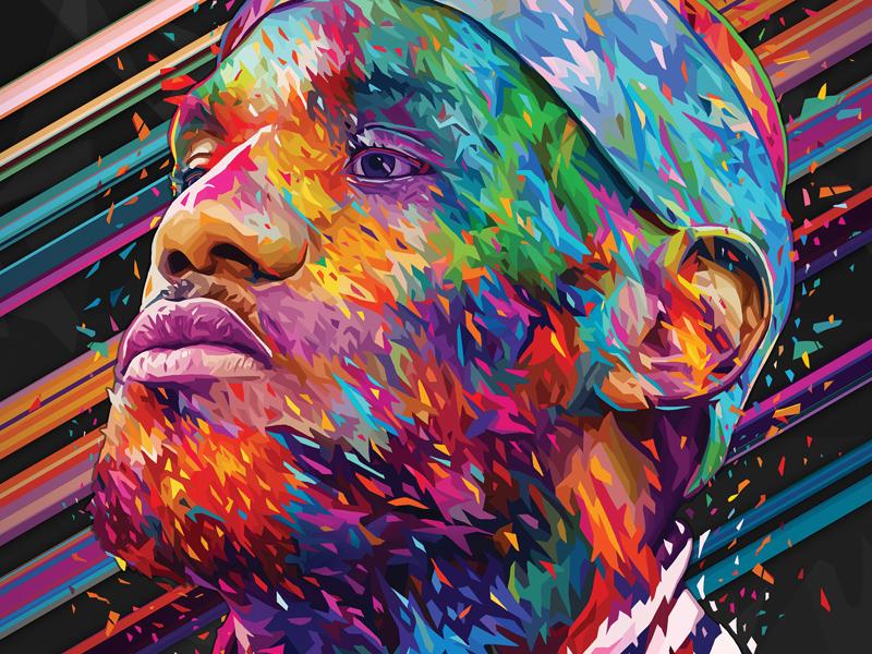 LeBron James kaneda99 kaneda portrait alessandro pautasso abstract colors nba cavaliers cleveland lebron james lebron