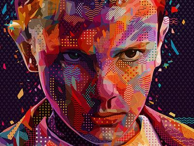 Pop Eleven colors strangerthings stranger things eleven abstract colors abstract portrait illustration kaneda99 alessandro pautasso kaneda