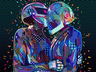 Pop Daft french texture popart pop art pattern music artwork music art music daft punk daftpunk photoshop art abstract colors colors abstract portrait illustration kaneda99 alessandro pautasso kaneda