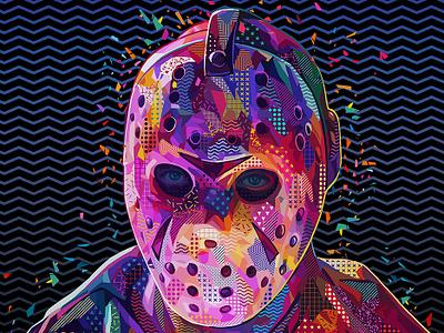 Pop Jason mask hockey slasher pop culture fridaythe13th friday 13th halloween jason voorhees jason pop art photoshop art abstract colors colors abstract portrait illustration kaneda99 alessandro pautasso kaneda
