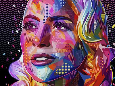 Pop Gaga popstar singer gaga lady gaga abstract colors woman portrait illustration kaneda99 alessandro pautasso kaneda