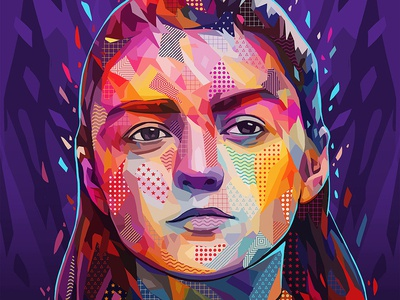 Pop Arya pattern texture pop art pantone pop got arya stark arya game of thrones actress colors abstract colors portrait illustration kaneda99 kaneda alessandro pautasso
