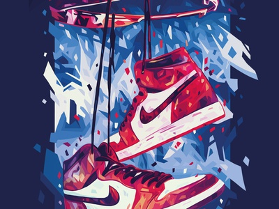 Cover for Los Angeles Times - The Sneakers Issue jordan air jordan 1 sneakers basketball basket los angeles times editorial air jordan nike abstract colors colors abstract illustration kaneda99 kaneda alessandro pautasso