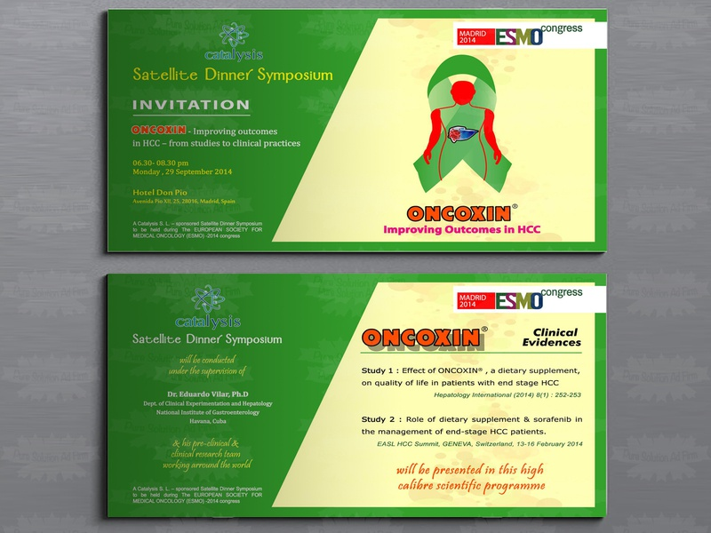 Dinner Symposium Esmo Congress Invitation Card invitation cards catalysis oncoxin brand mockup