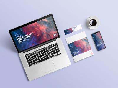 MacBook Pro and iPhone Mockups iphone mockup web designer ux ui presentation mockup freebie free stationery macbook mockup macbookpro iphone