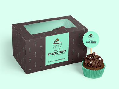Cupcake Packaging Mockup Bundle design assets templates design small businesses muffins cake confectionery bakery packaging design box branding paper box showcase presentation cupcake toppers topper branding box packaging cupcake