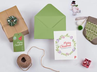 Christmas Greeting Card Mockup december season holiday freebie free mockup christmas greeting card