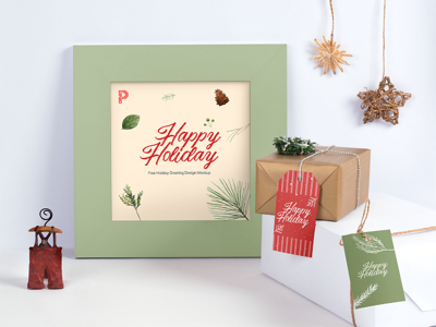 Free Holiday Greeting Frame Mockup design resource psd template tag gift season holiday christmas freebie free mockup picture frame photo frame greeting