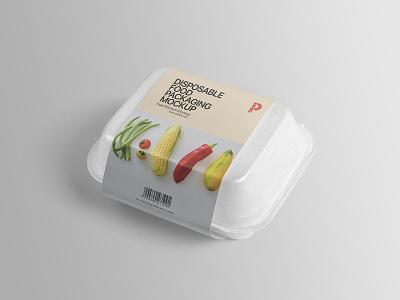 Disposable Food Packaging Mockup template psd template mockup freebie free branding design container disposable packaging food