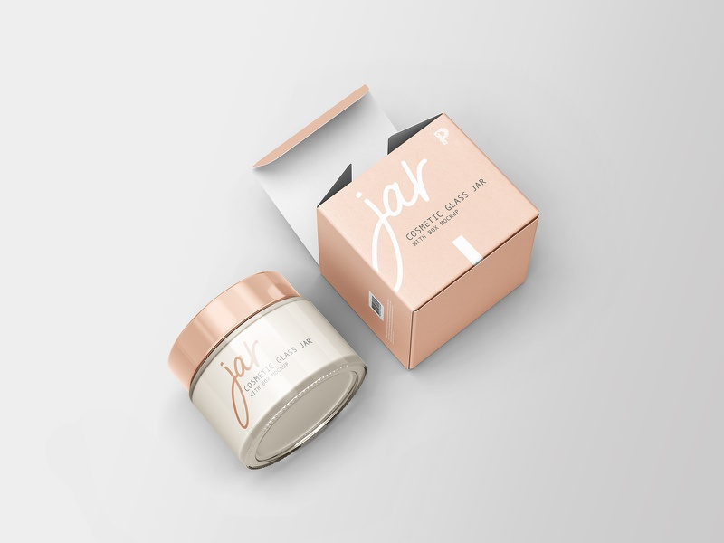 Download Cosmetic Glass Jar with Box Mockup