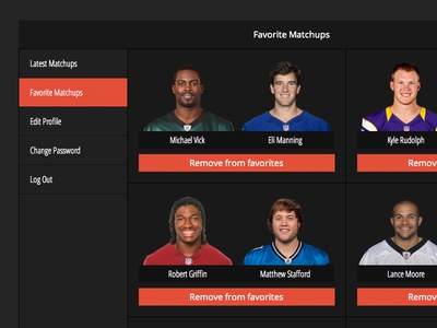 New Favorite Matchup Screen fantasy football app nfl remove add matchups