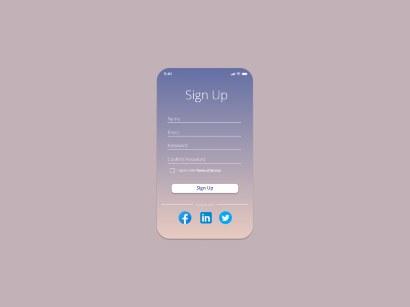 Daily UI #001 - Sign Up ui ui design design dailyui beginner