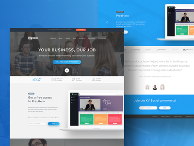 Homepage design saas company minimal color gradient blue page landing web home