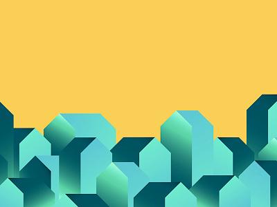 Quick Illustration house flat color gradient experiment illustration