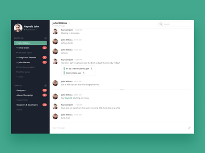 Chat app messenger ui dashboard chat