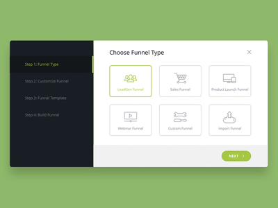Set up funnel steps page card icons ui popup dashboard modal