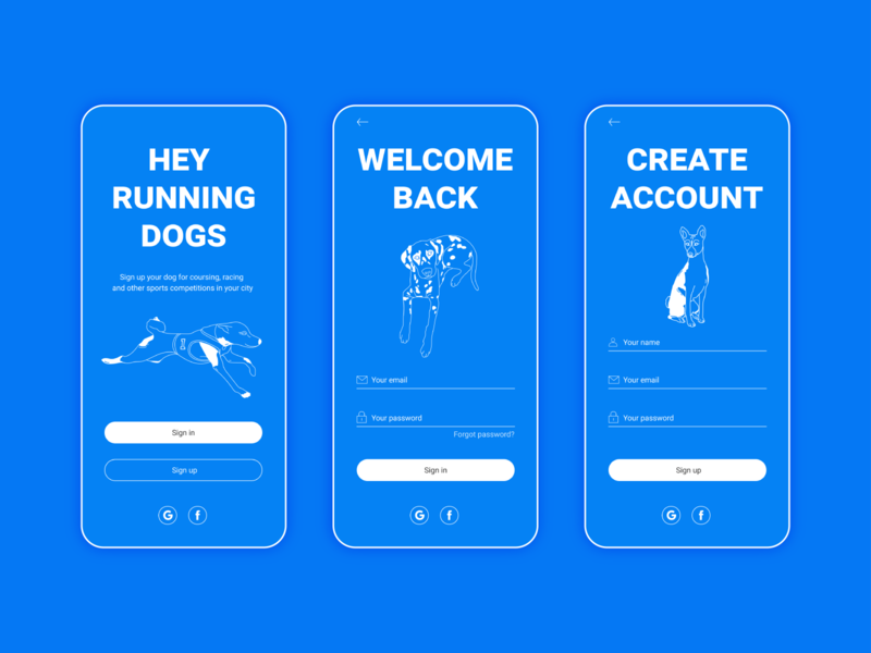 Sign in & Sign up vector interface ui dog illustration dog illustration blue sign in sign app app design daily 100 challenge dailyuichallenge dailyui