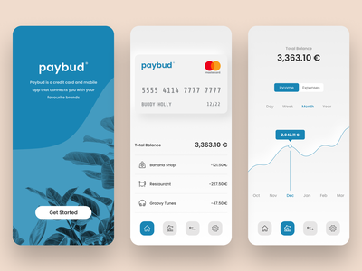 Paybud Virtual Credit Card App minimal clean balance pay paybud finance app finance neumorphism banking app credit card banking payment simple