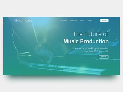 Sonicbay Landing Page sketch clean ui ux web app samples loops sounds music landing page sonicbay