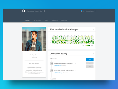 Github Profile Re-design mobile responsive sketch ui ux material re-design github