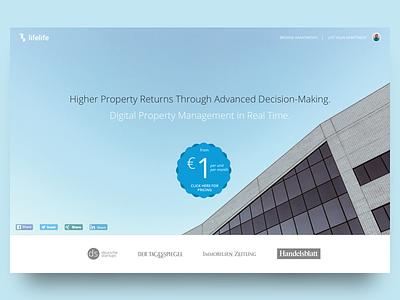 Lifelife Landing Page responsive sketch ui ux berlin startup broker real-estate landing page lifelife
