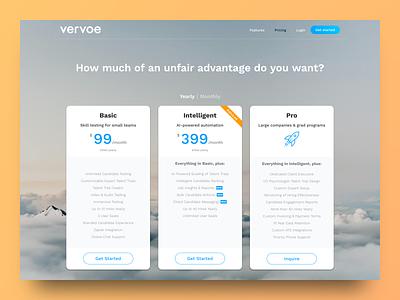Vervoe's Pricing Page vervoe responsive landing page clean ui sketch