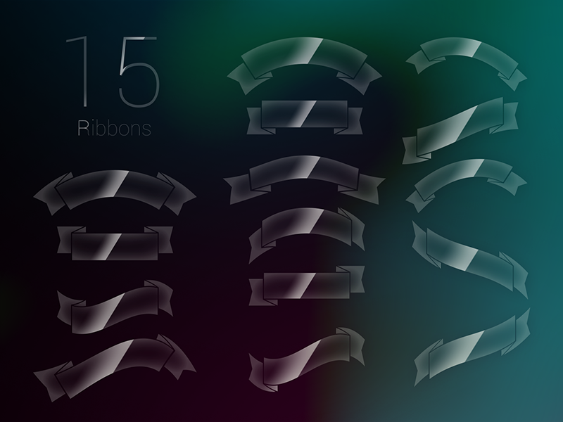 15 Glossy Ribbons PSD  ui ribbons glossy shadow photoshop download free psd ribbon freebie
