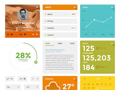 [Free PSD] Coloristico Flat Ui Kit  icons ui flat ui design flat icon clean ui kit freebie