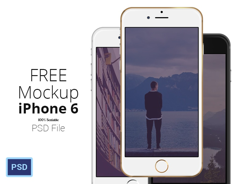 FREE iPhone 6 - Scalable Mockups 4.7' iphone iphone6 free free mockup free psd gold iphone black iphone white iphone