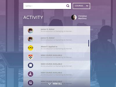 Homepage Activity Feed clean flat ui design web design ux design homepage