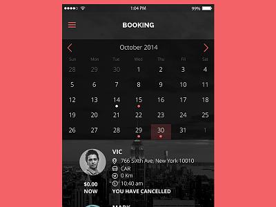 Booking Screen Mobile App app design booking mobile app mobile app iphone apple screen mobile calendar booking