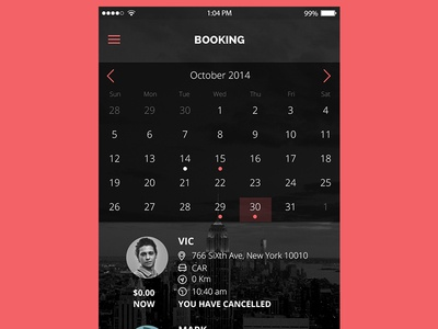 Booking Screen Mobile App app design booking mobile app mobile app iphone apple screen mobile calendar booking