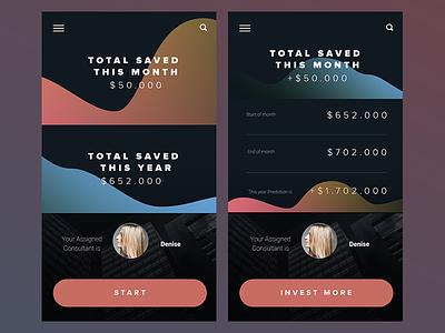 Investment App Design  android iphone colourful charts mobile design mobile app design app design ux design ui design ux ui interface